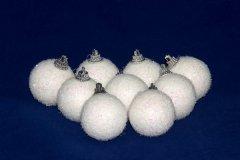 Набор елочных шаров mag-2000 9 шт 4 см Белые с блёстками (5102682200244)