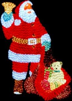 Новогодняя светодиодная декорация Scorpio Санта Клаус с подарком 185x135 см 2000 светодиодов (560501) (4820005605019)