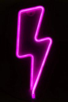 Светодиодная Декорации Devilon неоновые светильники, ночник - Молния, 14.5х2.3х35.3 см, неоновая трубка ПВХ Розовый свет (141431)