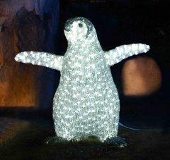 Новогодняя светодиодная декорация Scorpio Пингвин 65х68 см Белая (560328) (4820005603282)