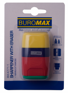 Ластик + точилка Buromax Rubber Touch с контейнером 2 отверстия (BM.4771-1)