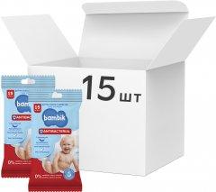 Упаковка влажных детских салфеток Bambik Antibacterial с первых дней жизни с экстрактом липы 15 пачек по 15 шт (43406086)