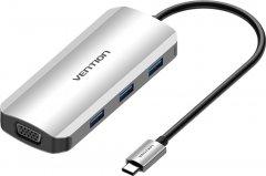 Док-станция Vention USB3.1 Type-C > HDMI/VGA/USB 3.0x3/PD 100W Hub 6-in-1 (TOIHB)