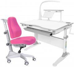 Комплект Evo-kids Evo-30 G + Y-528 KP стол + лампа + кресло Match gray base Белый/Розовый
