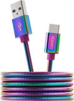 Кабель Canyon USB Type C - USB A 2.0 1.2 м Rainbow (CNS-USBC7RW)