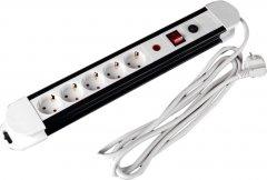 Сетевой фильтр Brille SF-5F/3ZV WH/BK 3x1.5 5 розеток Black-White (L100-018)