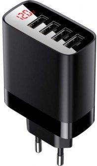 Сетевое зарядное устройство Baseus Mirror Lake Digital Display 4USB Travel Charger 30W (EU) Black (CCJMHB-B01)