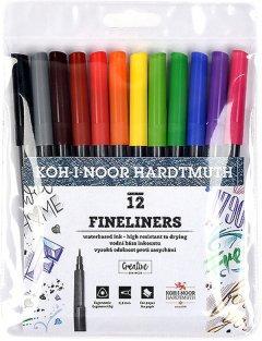 Набор линеров Koh-i-Noor Ассорти 0.3 мм пластик 12 шт (777012)
