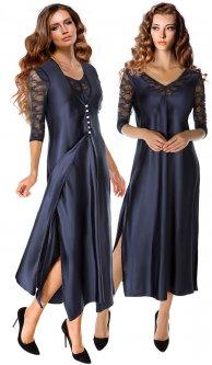 Ночная рубашка + пеньюар DoReMi 002-000214 M/L Темно-синие (8680570263009)