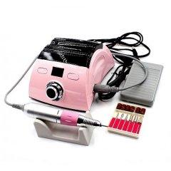 Фрезер для манікюру і педикюру Nail Drill ZS-710 + реверс + 6 насадок + педаль 65 Вт/35000 об/хв Рожевий