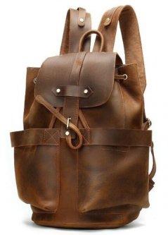 Кожаный дорожный коричневый рюкзак Vintage 14888 Коричневый