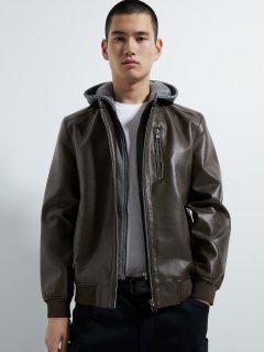 Куртка из искусственной кожи Zara 3427/300/700 S Коричневая (03427300700022)