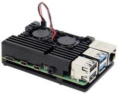 Корпус для миникомпьютера Raspberry PI RA503 алюминиевый c вентиляторами Black