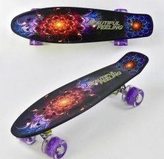 Пенни борд скейт маленький лонгборд скейтборд F 8740 Best Board, доска 55 см, колёса полиуретановые светятся для фрирайда (3627826ya)