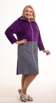 Халат женский Bonita ТМ Бонита, велюровый с капюшоном, фиолетовый с черно-белым 56 р (Н016)