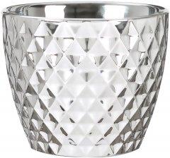 "Кашпо для цветов Scheurich Mirror Silver 16"" керамика Зеркальный с фактурой (4002477604749)"