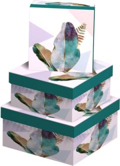 Набор подарочных коробок Ufo Feather картонных 3 шт Разноцветных (2289-SY436 Набор 3 шт FEATHER пр)