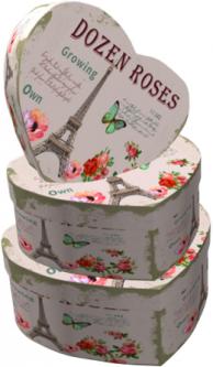 Набор подарочных коробок Ufo Paris картонных 3 шт Бежевых (3366-SY298 Набор 3 шт paris серд)