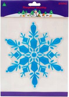 Новогодняя декоративная наклейка Маг2000 на окна стены Снежинка-синяя из ПВХ и PET 3D 20 х 24 см (5102682070342_синяя)