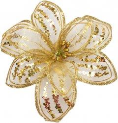 Елочная игрушка Devilon Цветок из органзы на клипсе 20 см Золотистый (780044_золото)