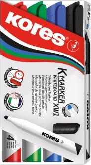 Набор маркеров для белых досок Kores 1-3 мм в блистере 4 шт (K20843)