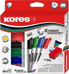 Набор маркеров для досок 4 шт Kores 1-3 мм с губкой Цветные (K20863)