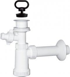 Сифон для раковины PLAST BRNO колбовый 32/40 мм c пробкой с подключением к стиральной машине (EU1P342)