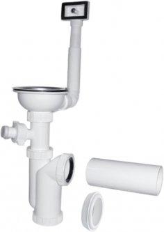 Сифон для кухонной мойки PLAST BRNO колбовый 40/50 мм со стальной пробкой-решеткой c переливом и подключением к стиральной машине (EA11450)
