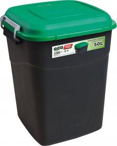 Бак-контейнер Tayg Eco для мусора с крышкой и ручками 51х41х40 см 50 л Черно-зеленый (412035_зелений)