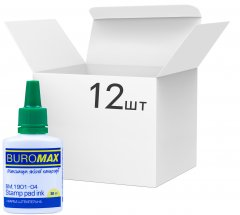 Упаковка штемпельной краски Buromax на водной основе Зеленая 30 мл х 12 шт (BM.1901-04)