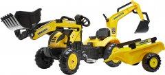 Детский трактор на педалях Falk 2076N Komatsu с прицепом, передним и задним ковшом Желтый (2076N)