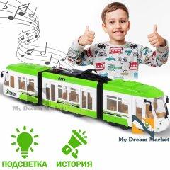 Дитяча машинка Трамвай - розвиваюча іграшка з активними кнопками зі світловими і звуковими ефектами піснями і історіями англійською мовою, на батарейках для дітей від 3 років / Зелена