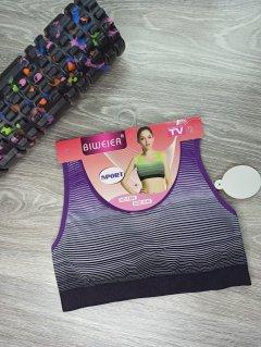 Топ спортивний для йоги та фітнесу в смужку Biweir L-XL фіолетовий (1608)