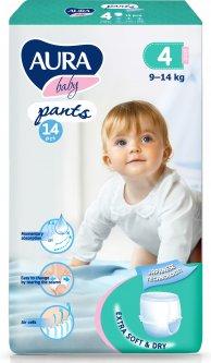 Трусики одноразовые для детей Aura Baby 4 L 9-14 кг small-pack 14 шт (4752171005075)