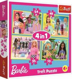 Пазли Trefl 4 в 1 У світі Барбі. Mattel Barbie, 35, 48, 54, 70 елементів (34333)