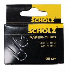 Набор скрепок Scholz закругленные 28 мм 10х100 шт Никелированные (4701/18591662470106)