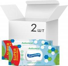 Упаковка влажных салфеток Superfresh Antibacterial с клапаном 2 пачки по 120 шт (42105641)