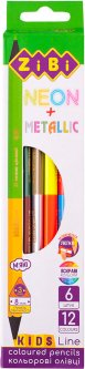 Карандаши цветные ZiBi Double Neon + Metallic 6 шт 12 цветов (ZB.2465)