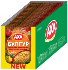 Упаковка каши булгур AXA с овощами, копчеными томатами и зеленью 40 г х 20 шт (4820008129826)