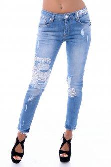 Жіночі джинси RAW з мереживами 46 блакитні