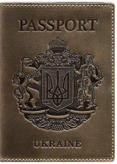 Новый Обложка для паспорта кожаная с украинским гербом BlankNote BN-OP-UA-o Темно-коричневая