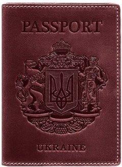 Обложка для паспорта кожаная с украинским гербом BlankNote BN-OP-UA-vin Бордовая