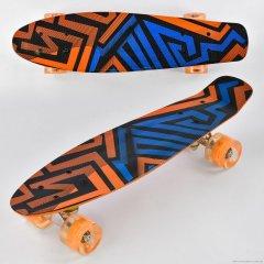 Пенни борд скейт маленький лонгборд детский скейтборд Best Board Р 13222, доска 55 см, колёса полиуритановые светятся для фрирайда Оранжево Синий