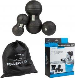 Набор массажных мячей PowerPlay 4007 3 шт Черные (PP_4007_Black(3pcs))