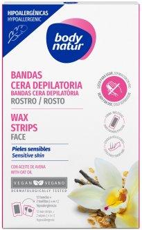Восковые полоски для депиляции лица Body Natur Wax Strips for Face sensitive Skin-Hypoallergenic 12 полосок + 2 салфетки (8414719407296)