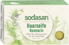 Органическое нежное мыло-шампунь Sodasan Розмарин для укрепления и роста волос 100 г (4019886190190)