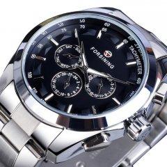 Годинники чоловічі FORSINING WALKER STEEL механічні з автопідзаводом і металевим браслетом Чорний/Сріблястий