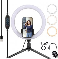 Набор блогера XoKo BS-300 + микрофон + пульт ДУ LED 26 см (BS-300+)