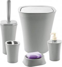 Набор аксессуаров для ванной комнаты PLANET Papillon 5 предметов серый