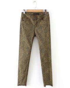 Стрейчеві джинси жіночі з асиметричним краєм Leopard Berni Fashion (L) Коричневий (55835)